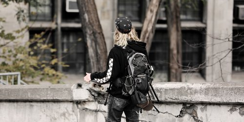 Guy Backpack in the City